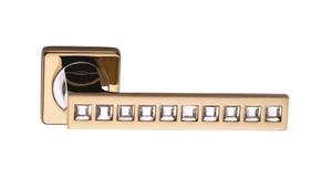 Ручки на квадратной накладкке SILLUR C199 P.GOLD/CRYSTAL